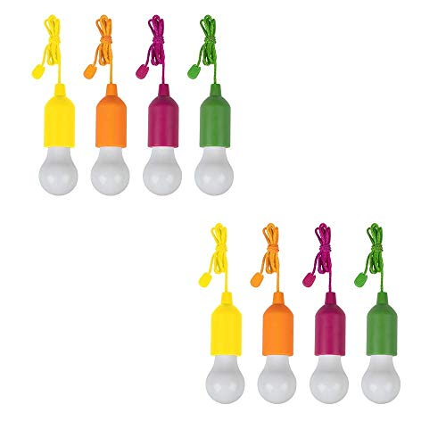 HandyLux Colors, kabellose LED Leuchte, Safe Touch Oberfläche, Dekoleuchte, 8er Set LED-Lampen, Hängeleuchte, Deckenleuchte, Batteriebetrieb, Zugschnuraktivierung