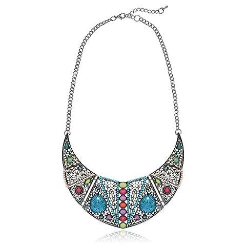 AMDXD Bohémiens Bijoux Plaqué Argent Colliers Pendentifs pour Femme Collier De Cou De Cercle De Perle Coloré