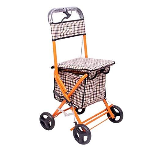 YYSHLA 4 Rad Klapp Einkaufs Mobilität Trolley Warenkorb Markt Wäscheservice Licht Klapproller Senior Vier Fuß Cane Rollstuhl kann Einkaufswagen Travel Trolley (Farbe: Braun Größe: 90 * 52 cm)