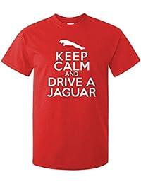 Keep Calm And Drive A Jaguar T-Shirt, Mens, Red, X Large