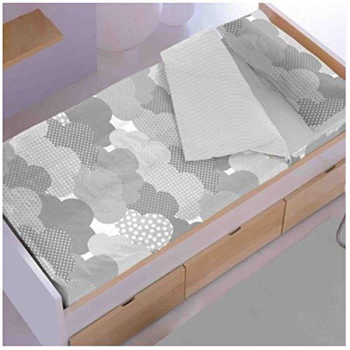 7aa813cfc68 New Cotton Saco nórdico con Relleno Nubes Gris para Cama 90 x 190/200 con