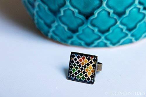 Anello dell'Alhambra - Mosaico mulicolore - Fotografia mosaico e resina ecologico -18 mm - Regalo per lei di Natale - Black Friday