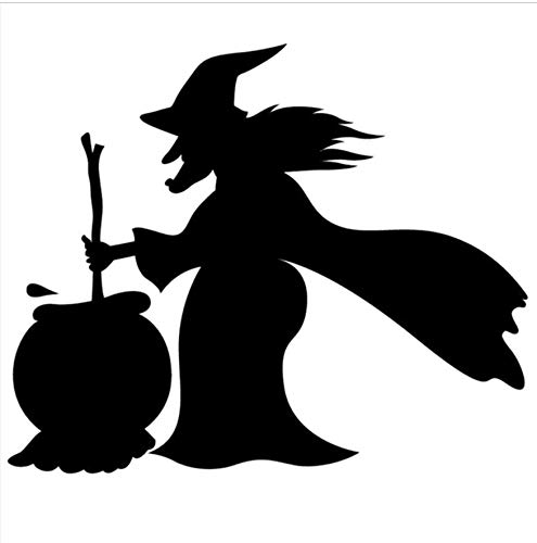 Hexe Silhouette Vinyl Wandaufkleber Kreative Halloween Dekoration Wandtattoo 52X44Cm