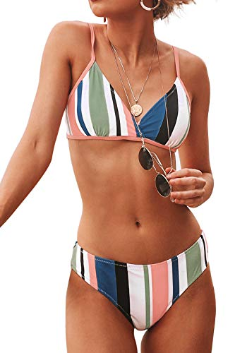 CUPSHE Honig Mädchen Streifen Bikini, Mehrfarbig, XXL
