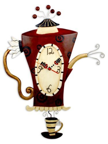 Wanduhr Küchenuhr Teekanne Kaffeekanne Pendeluhr Steamin' Tea Clock