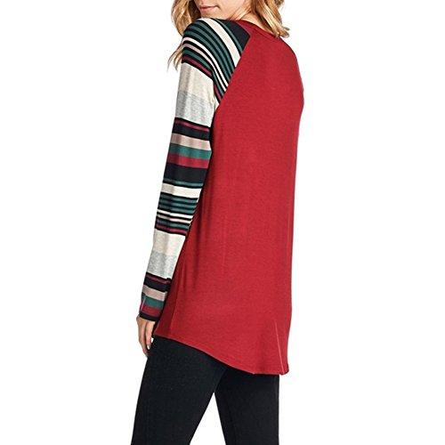 Winfon Tee Shirt Femme Noel Imprimé Top à Manches Longues Hauts Tunique Rouge Style 1