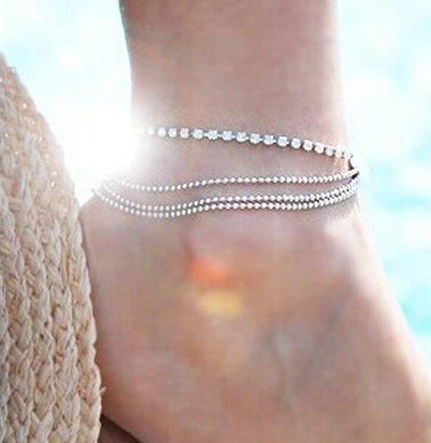 Skyllc® Metallico autoportante Chain Flash diamante calzino del piede