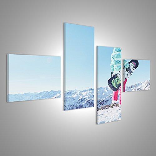 Bild Bilder auf Leinwand Hintere Ansicht des weiblichen Snowboarders den bunten Sturzhelm, blaue Jacke, graue Handschuhe und die rosa Hosen tragend, die mit Snowboard in einer Hand stehen und alpine Berglandschaft Verschiedene Formate ! Direkt vom Hersteller ! Bilder ! Wandbild Poster Leinwandbilder ! HDF (Über Snowboard-handschuh)