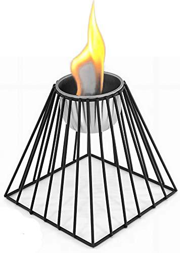 Chimenea mesa bioetanol recubrimiento polvo metal