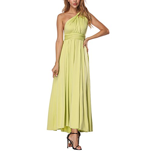 Lover-Beauty Kleider Damen V-Ausschnitt Rückenfrei Neckholder Abendkleider Elegant Cocktailkleid Multi-Way Maxikleid Lang Chiffon Party Kleid, Hell Grün, (EU 34-36)S
