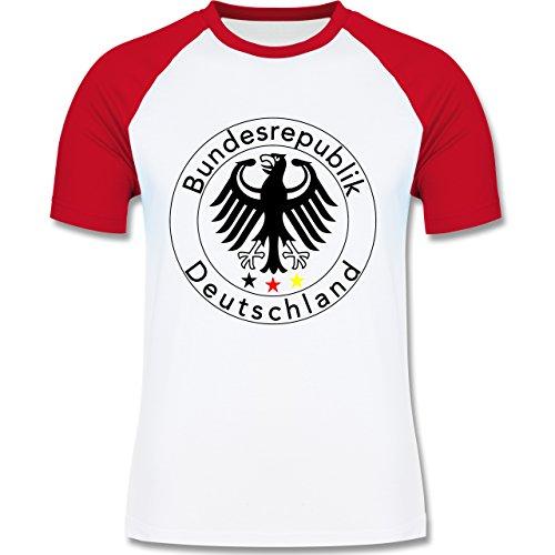 EM 2016 - Frankreich - Deutschland Adler Fußball - zweifarbiges Baseballshirt für Männer Weiß/Rot