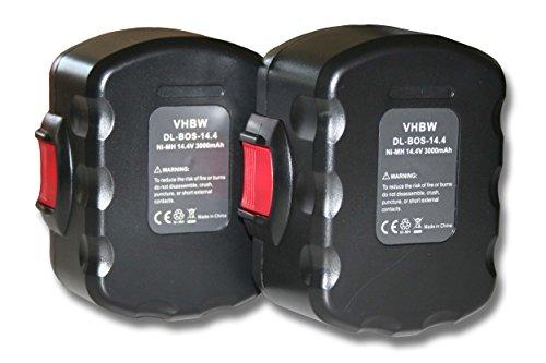 Preisvergleich Produktbild vhbw 2x Ni-MH Akku 3000mAh (14.4V) für Werkzeuge Bosch AHS 41, GDR 14.4V, GDS 14.4V wie Bosch 2 607 335 264, 2 607 335 276, 2 607 335 465.