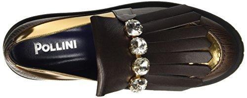 Pollini Sa10433g12ts, Pompes à plateforme plate femme Marron - Marrone (Marrone/Oro)
