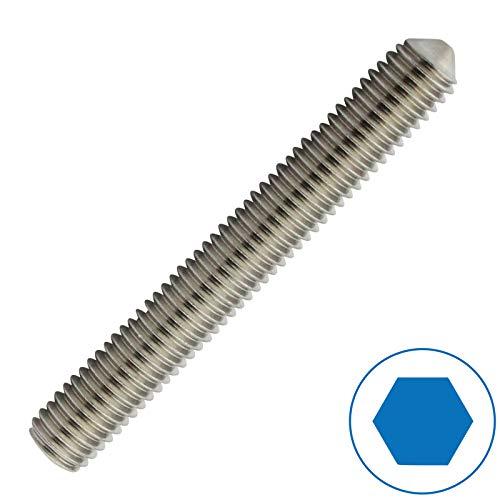 D2D | VPE: 10 Stück - Gewindestifte - Größe: M8 x 20 mm nach DIN 914 mit Innensechskant (ISK) und Spitze aus Edelstahl A2 / V2A - Madenschrauben