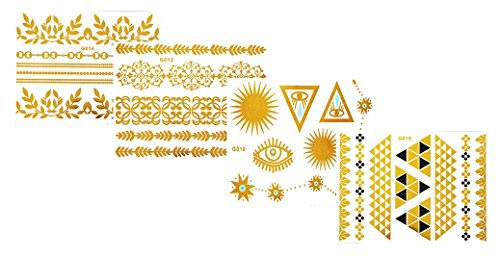 Tattoo Tatouage Temporaire Métallique Golden Metallic Gold Stickers de tatouage temporaire pour l'art corporel Formes dorées - SET G-E Temporary Tattoo Body Tattoo Sticker Set 4 in 1 - FashionLife