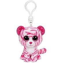 carletto TY 36638–Asia Clip, Tiger con ojos, Glubschi 's, Beanie Boo' s, 8.5cm, color blanco y rosa