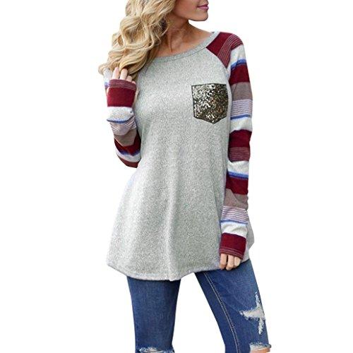 Spleißendes Paillettenhemd Damen ❤️SHOBDW Sommer Frauen Rundhals Splice Pailletten Tasche lose Langarm Top Bluse Shirt (S, Mehrfarbig) -
