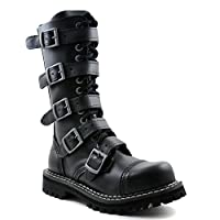 Angry Itch 14-hole 5-buckle gothic punk black leather army ranger boots with zipper & steeltoe - UK sizes 3-13 - Made in EU!