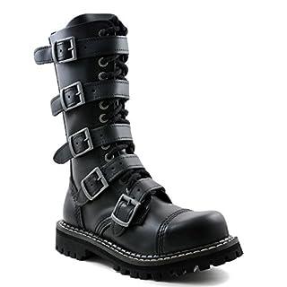 ANGRY ITCH - 14-Loch 5-Buckle Gothic Punk Army Ranger Leder Schwarz Schnallen Armee Stiefel mit RV & Stahlkappe 36-48 - Made in EU!, EU-Größe:EU-43