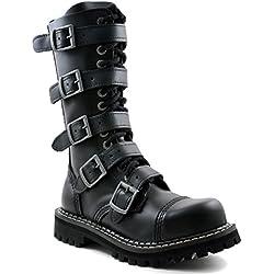 Angry Itch - 14-Agujeros Botas goticas Punk de Cuero Nero con 5 Hebillas y con Ziper - Numéros 36-48 - Hecho in EU!, EU-Größe:EU-45