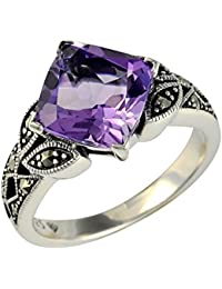 Esse Marcasite Sterling Silver Amethyst and Marcasite Art Nouveau Dress Ring