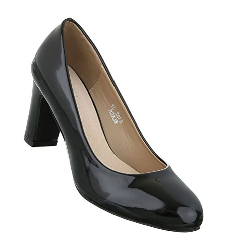 Damen Pumps Schuhe Elegant High Heels Bequeme Schwarz