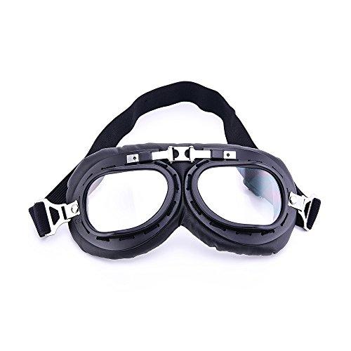 Retro Aviator Pilot Brillen Harley Style Motorrad Halb Helm Goggle Brille mit Schwarz Maske