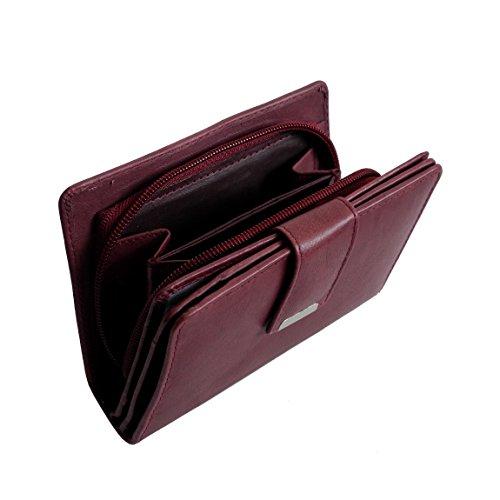 Jennifer Jones classico medio formato donna di cuoio della borsa del portafoglio - presentato da ZMOKA® in vari colori., Chianti-Rust (arancione) - 0 bordeaux