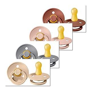 4 Bibs Schnuller Colour, Größe 1 (0-6 Monate) Starter-Set für Mädchen