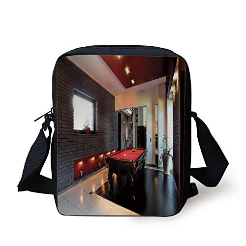Modern Decor,House with Snooker Table Hobby Pool Game Flat Furniture Leisure Time Print,Red Brown White Print Kids Crossbody Messenger Bag Purse
