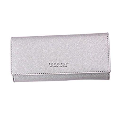 Porte-monnaie femme ❤ Grande Capacité Lady en cuir Portefeuille ❤ Embrayage Long Porte-cartes (silver)