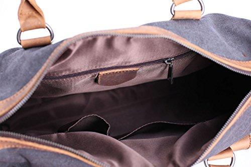 DoubleMay Herren Vintage Handtasche Aktentasche Canvas Leder Laptoptasche Henkeltasche Umhängetasche für Büro Outdoor Freizeit PLA-2025 (Grün) Dunkel Grau