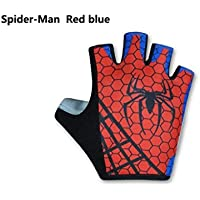 Spiderman Rosso e Blu per uomini e donne guanti da equitazione mezza Finger Gloves Mountain Bike Riding Equip Heroes Unione, XL
