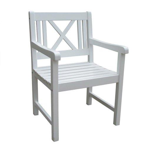 Chaise de jardin en polyrotin holzsessel nouveau, en bois d'eucalyptus certifié fSC blanc