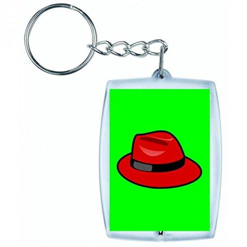 Druckerlebnis24 Schlüsselanhänger RED HAT- Fedora- Mode- Stil- Kopfbedeckungen- STILVOLLE- Retro- Hut in Grün | Keyring - Taschenanhänger - Rucksackanhänger - Schlüsselring