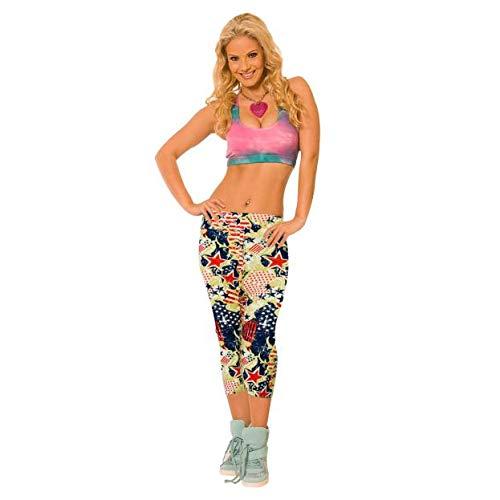 QINPIN Kurz geschnittene Hose gedruckt Sport Leggings L
