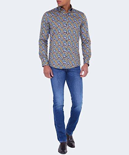 Guide London Herren Baumwoll-Satin-retro-shirt Multi-gefärbt Multi-gefärbt