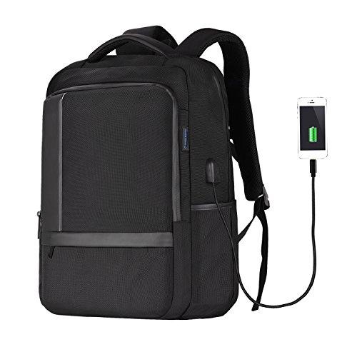 Tomppow Laptop Rücksack Tasche Herren Damen schwarz—15,6 Zoll Notebook Rucksack für laptop—wasserdichte schule business Rucksack mit USB-Ladeanschluss—für bei Arbeit, Schule,die Uni und Reisen