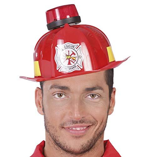 Feuerwehrmann Kostüm Lustige - Fancy Me Feuerwehrmann Hut für Herren, mit Sirene und Licht, Notfalldienste, Feuerwehrmann, lustig, Junggesellenabschied, Kostüm-Zubehör