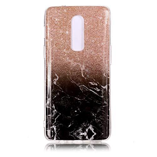 """SsHhUu Custodia OnePlus 6, Ultra Magro [Marmo Modello] Gel Silicone Flessibile Morbido in Gomma TPU Anti-graffio e Anti-Impronte Cover per OnePlus 6 2018 (6.28"""") Oro Rosa/Oro Nero"""