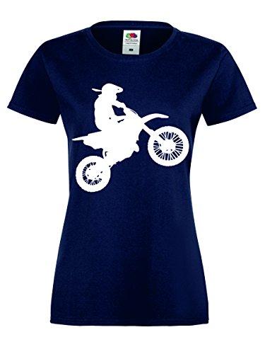Motocross Shirt Motorrad Biker T-Shirt Gr. S - XXL Damen Navy-Weiss