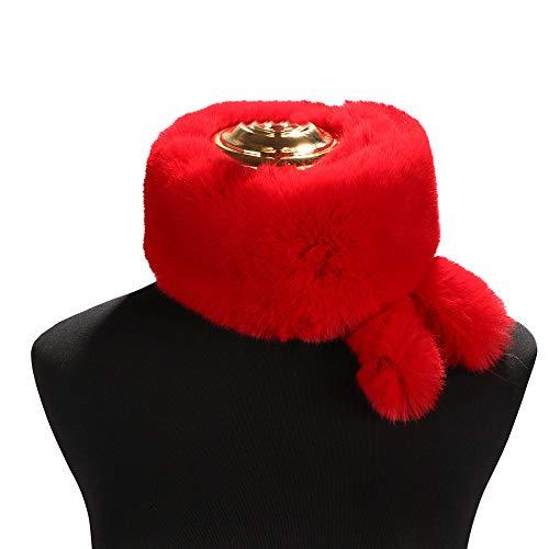 Amphia - Süßer Schwanz Schal,Mode-Frauen-Normallack-Schal-Nette Schwänze halten warme Schals-Winter-Geschenke(Rot) (Motorrad-schwanz-net)