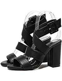 Zapatos De Tacón Peep Toe De Las Mujeres del Bloque De Roma Sandalias De Tobillo Correa De Tacón Alto Zapatos...