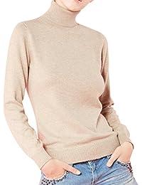 LongMing Damen 100% Kaschmir Pullover for Winter Lange Ärmel Hoher Hals und  Figur Schmeichelnde Casual… 38b9091f8c