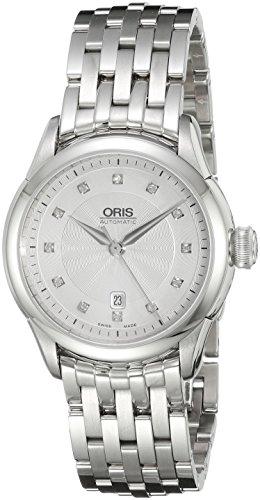 Oris Femme 31mm Bracelet & Boitier Acier Inoxydable Saphire Automatique Cadran Argent Montre 56176044041MB