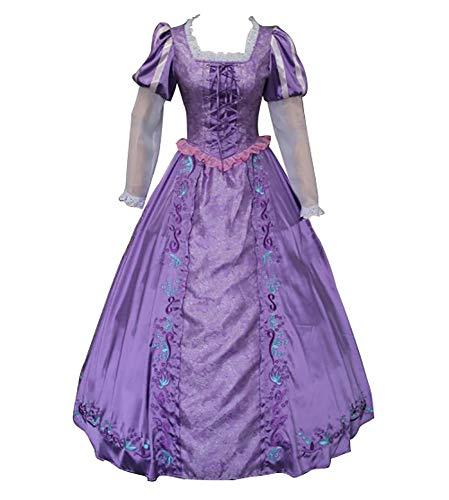 CLLMKL Tangled Kostüm Erwachsene Prinzessin Rapunzel Kleid Cosplay Gr. Medium, violett