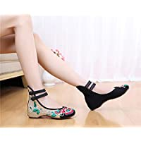 JaneDream Elegant Chinese Wind Cloth Shoes Chinese Style Dichotomanthes Bottom Casual Flat Shoes 40-Black