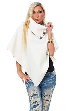 10261 Fashion4Young Damen Poncho Pullover Tunika Pulli verfügbar in 3 Farben Gr. 34/36/38 (One Size (34 36 38), Weiß)