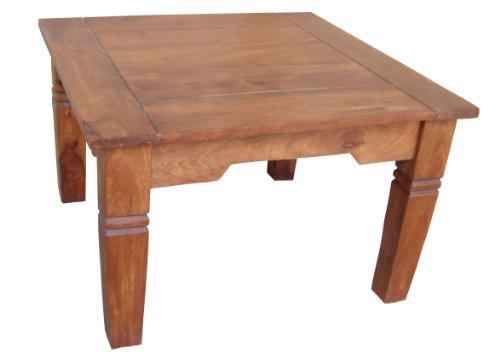 Guru-Shop Table Lumineuse Basse Carrée Marron, Teck, 60x60x40 cm, Tables Basses