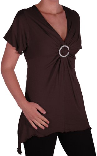 EyeCatch Plus - Haut manches courtes asymétrique stretch - Solange - Femme - Plusieurs Tailles et Couleurs Brun